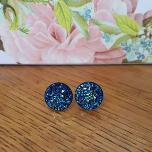 Blue with Green Druzy Earrings